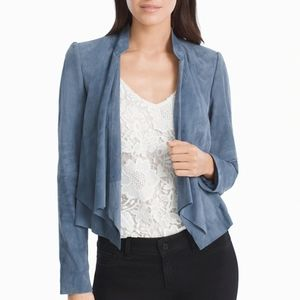 WHBM Blue Suede Leather Drop Front Blazer D3695